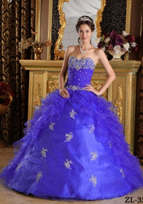 Purple Princess Sweetheart Organza Quinceanera Gowns with Appliques and Pick-ups