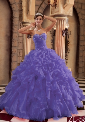 Purple Princess Sweetheart Organza Ruffles Dresses For a Quince