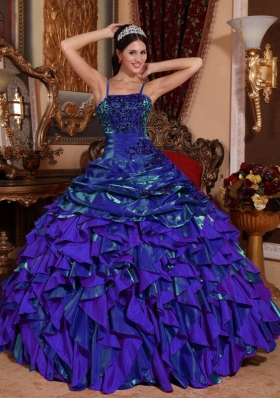Purple Spaghetti Straps Sweet Sixteen Dresses with Ruffles and Beading