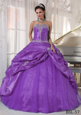 Purple Strapless Appliques Quinceanera Gowns with Pick-ups