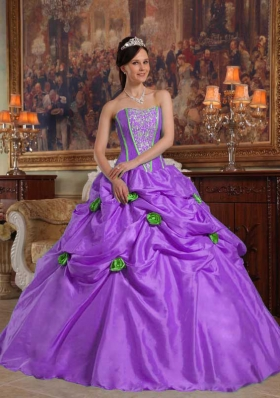 Purple Strapless Beading and Pick-ups Quinceanera Dress with 3D Flower