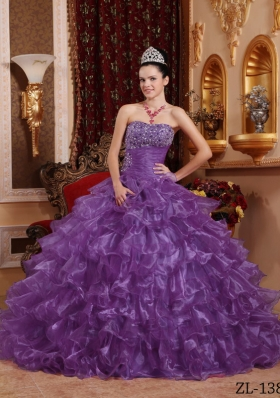 Purple Strapless Organza Quinceanera Gowns with Beading and Ruffles