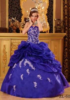 Purple Strapless Organza Sweet Sixteen Dresses with Appliques and Pick-ups