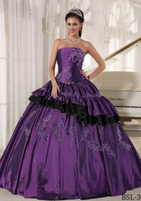 Purple Strapless Taffeta Sweet Sixteen Dresses with Beading