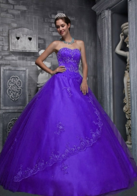 Purple Sweetheart Beading and Appliques Custom  Made Quinceanera Dress