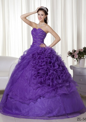 Purple Sweetheart Organza Beading and Ruffles Quinceanera Dresses