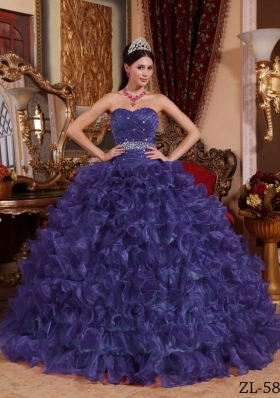 Purple Sweetheart Sweet 15 Dresses with Beading and Organza Ruffles