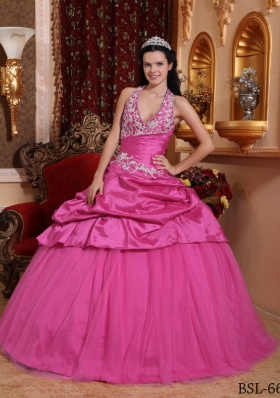Rose Pink Ball Gown Halter Quinceanera Dress  with Taffeta Appliques