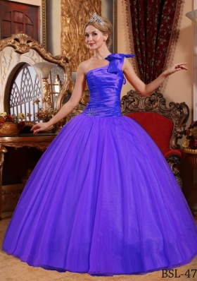Simple Ball Gown One Shoulder Beading Quinceanera Dress with Ruching