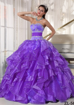 Strapless Ball Gown Organza Sweet 16 Dresses with Appliques and Ruffles