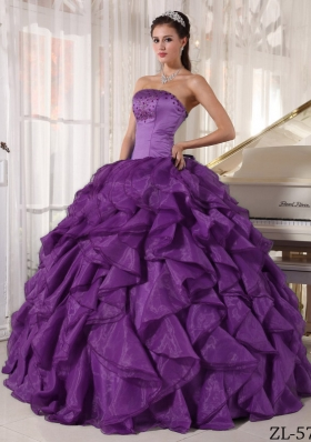 Strapless Organza Purple Quinceaneras Dress with Beading and Ruffles