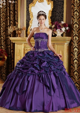 Strapless Pick-ups Taffeta Eggplant Purple Dresses For a Quinceanera