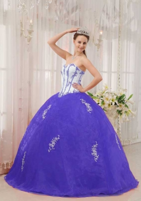 White and Purple Sweetheart Appliques Elegant Quinceanera Dress