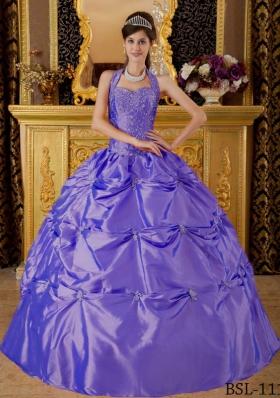 Purple Halter Tafftea Quinceanera Gown Dresses with Appliques