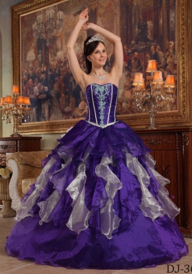 Purple Ball Gown Sweetheart Beading Dress For Quinceanera with Ruffles