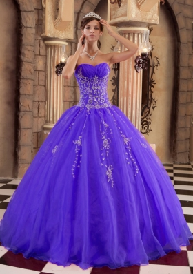 Purple Princess Organza Quinceanera Gowns with Beading