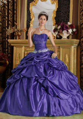 Purple Strapless Beading Dresses Of 15 with Pick-ups and Appliques