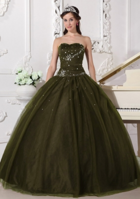 Ball Gown Sweetheart Tulle Olive Green Sweet 16 Dresses with Rhinestone