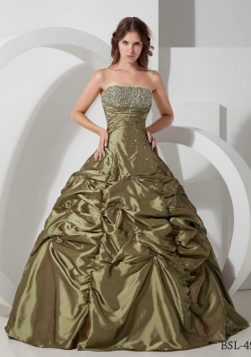 Discount Strapless Taffeta Olive Green Quinceanera Dresses with Beading