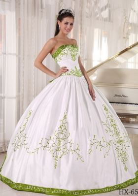 Olive Green and White Strapless Embroidery Dresses For a Quinceanera