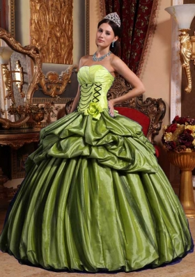 Olive Green Ball Gown Strapless Hand Made Flower Sweet 16 Dresses with Pick-ups