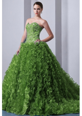 Olive Green Princess Sweetheart Brush Train Sweet Sixteen Dresses with Beading and Ruffles