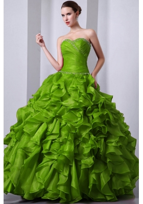 Olive Green Princess Sweetheart Organza Sweet 16 Dresses with Beading and Rufffles