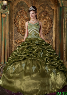 Olive Green Spaghetti Straps Taffeta Quinceaneras Dress with Pick-ups and Appliques
