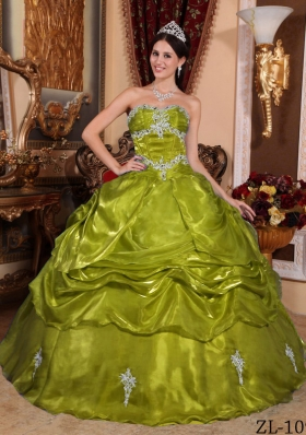 Olive Green Strapless Organza Appliques Sweet Sixteen Dresses