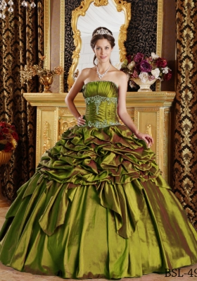 Olive Green Strapless Pick-ups and Appliques Sweet Sixteen Dresses