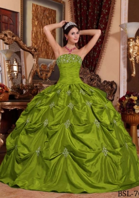 Olive Green Strapless Taffeta Appliques Sweet 16 Dresses with Pick-ups