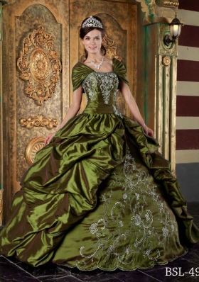 Olive Green Strapless Taffeta Embroidery Sweet Sixteen Dresses with Pick-ups