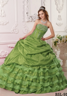 Olive Green Strapless Taffeta Sweet 15 Dresses with Beading and Layers