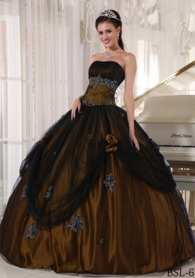 Olive Green Strapless Tulle and Taffeta Quinceanera Dresses with Beading