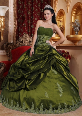 Olive Green Sweet 15 Dresses with Appliques and Pick-ups Sweetheart