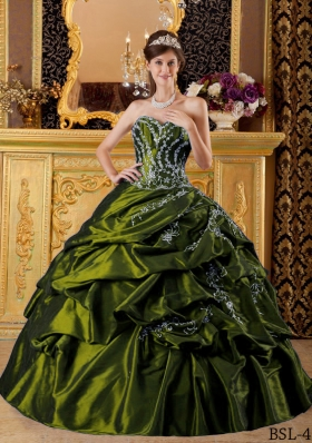 Olive Green Sweetheart Appliques Sweet Sixteen Dresses with Pick-ups