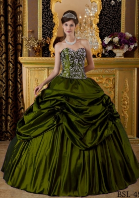 Olive Green Sweetheart  Sweet 16 Dresses with Pick-ups and Embroidery