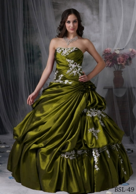 Pick-ups Strapless Sweet Sixteen Dresses with Appliques
