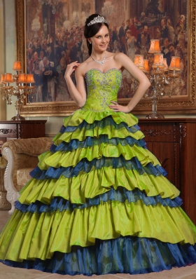 Princess Sweetheart Sweet 15 Dresses with Beading and Layers