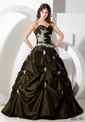 Princess Sweetheart Taffeta Sweet 15 Dresses with Appliques
