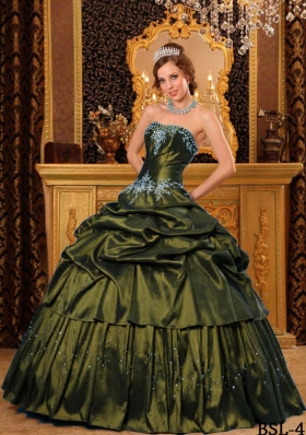 Remarkable Strapless Olive Green Sweet Sixteen Dresses with Pick-ups and Appliques