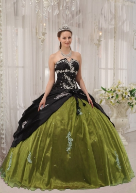Black and Olive Green Organza Quinceanera Dresses with Apppliques and Flowers