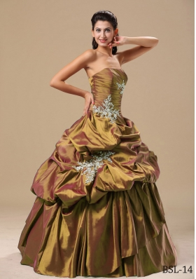 Discount Appliques Strapless Pick-ups Dresses For Quinceaneras