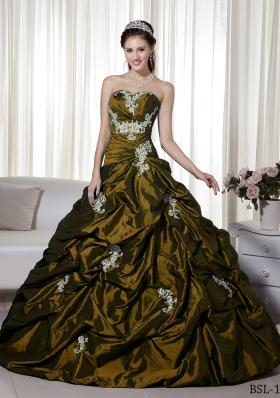 Discount Princess Strapless Taffeta Appliques Dresses Quinceanera