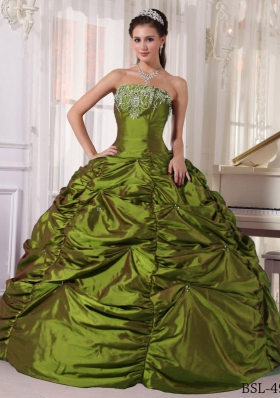 Elegant Olive Green Strapless Embroidery Dresses For a Quinceanera