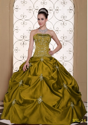 Embroidery Strapless Modest Quinceanera Dresses Gowns with Pick-ups