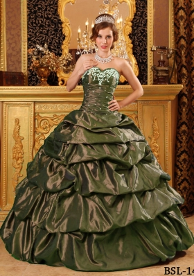 Fashionable Sweetheart Olive Green Sweet 16 Dresses with Appliques and Pick-ups