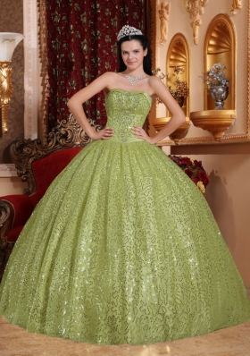 Olive Green Puffy Sweetheart Sweet 15 Dresses with Sequins