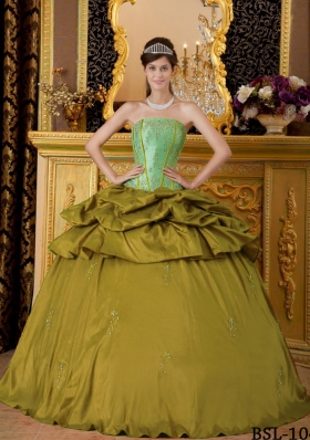 Olive Green Strapless Appliques Sweet 16 Dresses with Appliques and Pick-ups