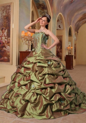 Olive Green Strapless Court Train Taffeta Sweet 15 Dresses with Pick-ups